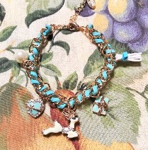 Candy-Girl Charm Bracelet with Blue Woven and Metal Alloy Charms