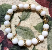 Genuine Mala Meditation Bracelet with Gold Buddha and Crystal separation stones