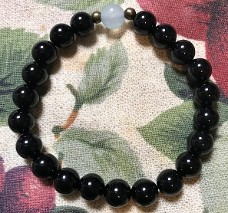 Genuine Black Onyx Healing and Empowerment Bracelet with Blue Opal bead