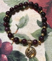 Genuine Red Garnet Gemstone Bracelet with Gold OHM Talisman