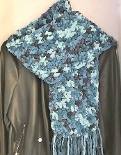 Blue Marbling BoHo Scarf for Adults